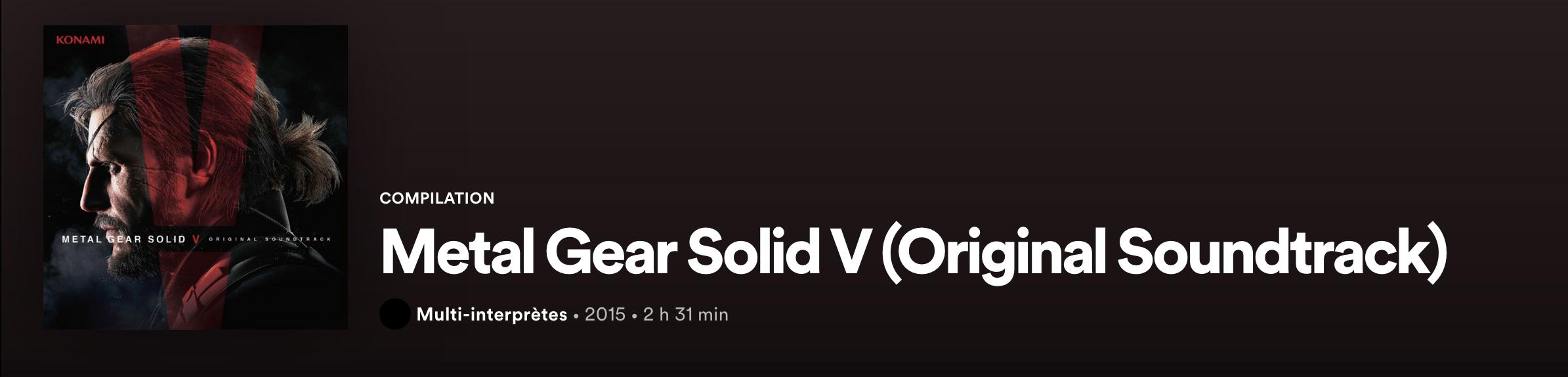 Metal Gear Solid V Spotify