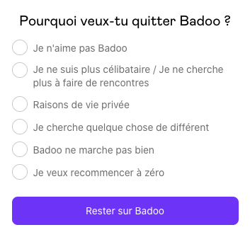 Supprimer definitivement Badoo 1