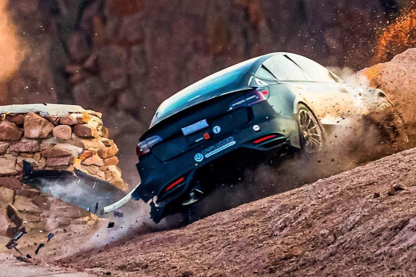 Tesla Model 3 Pikes Peak crash