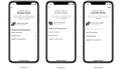 Account Center sur Facebook, Messenger et Instagram