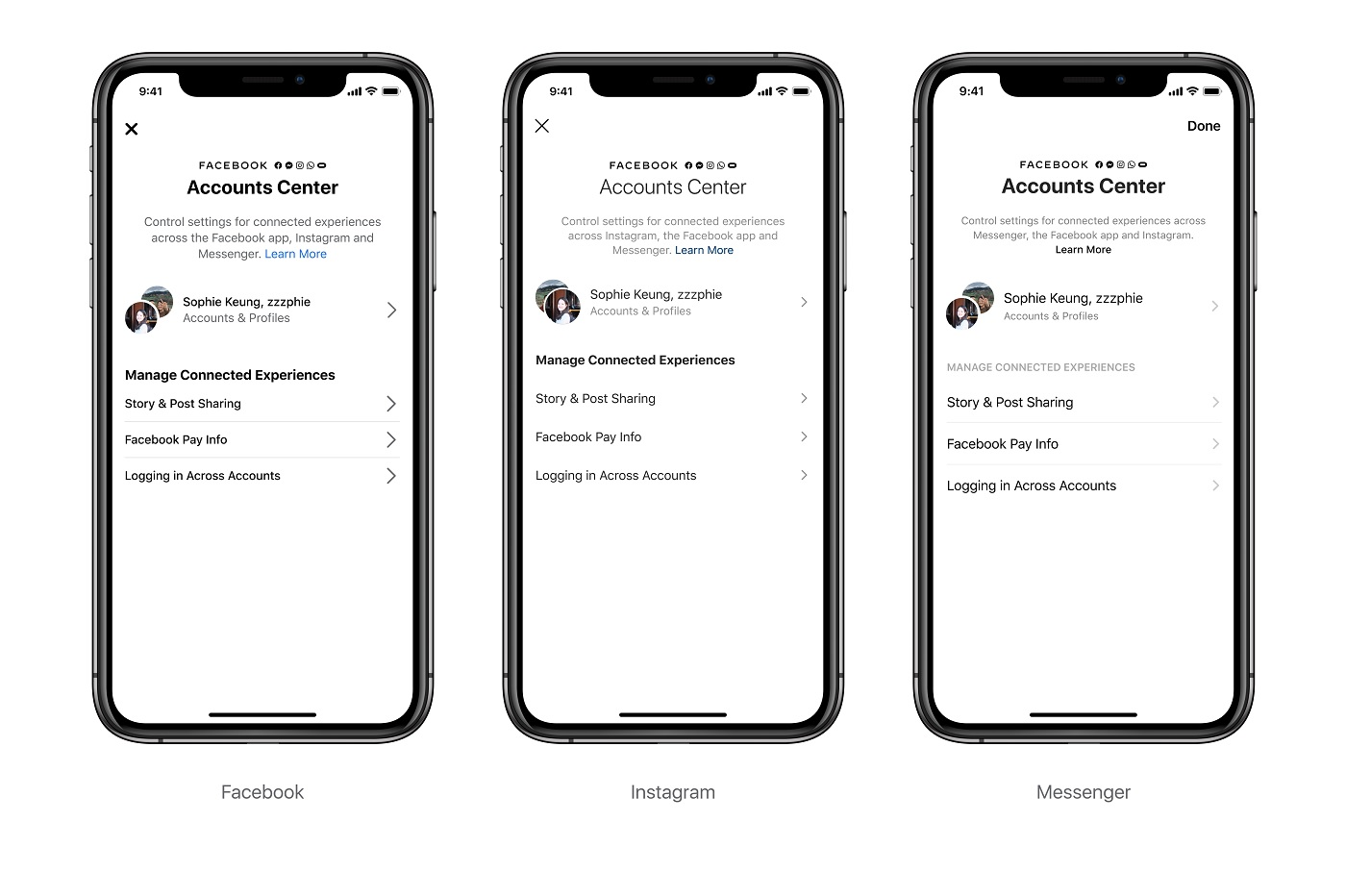 Account Center sur Facebook, Messenger et Instagram