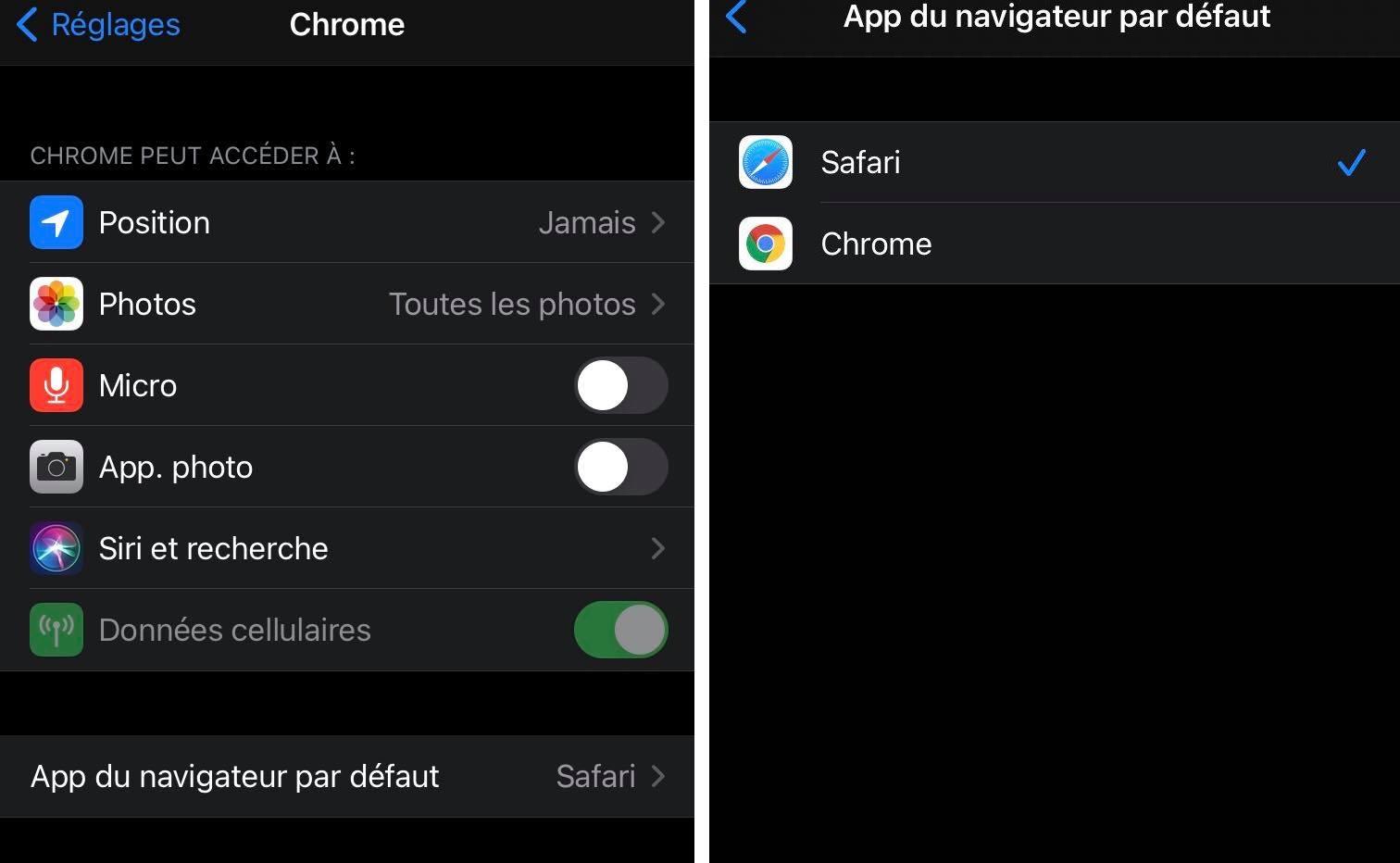 Changement de navigateur par défaut sur iOS 14