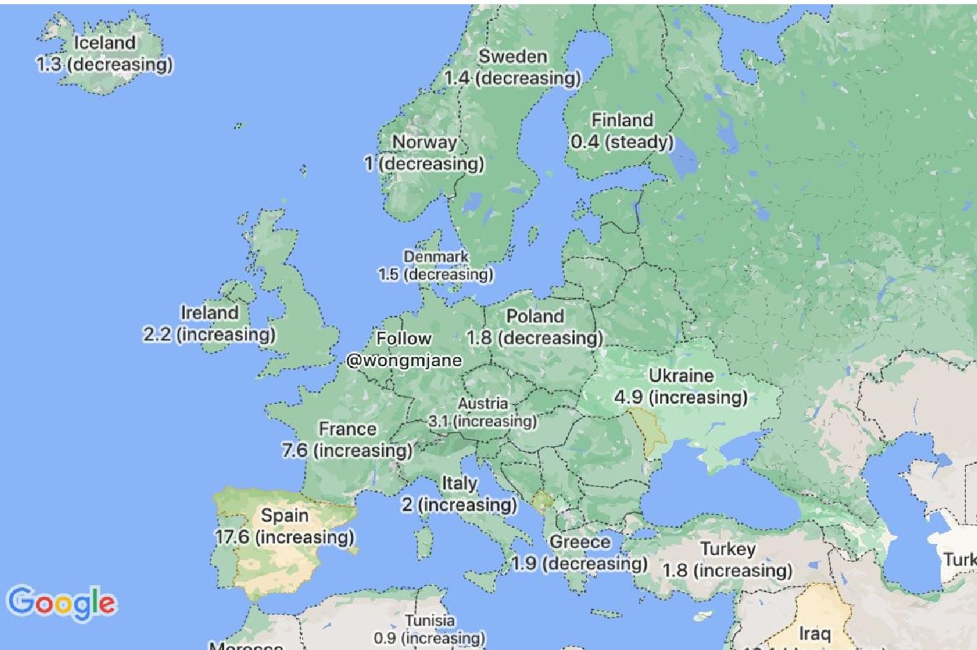 Développement d'une carte COVID sur Google Maps