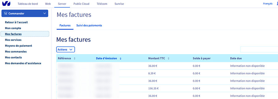 Gestion factures OVH