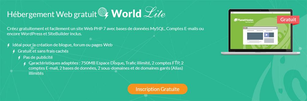 Hébergement web gratuit PlanetHoster