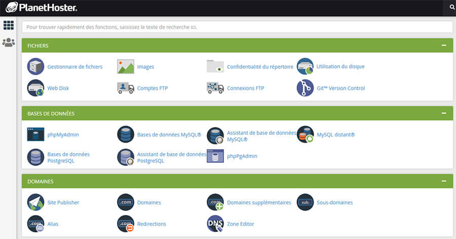 Interface cPanel PlanetHoster