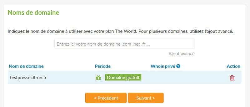 Nom de domaine gratuit PlanetHoster
