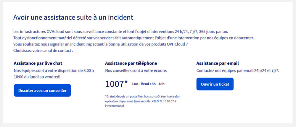 Support client OVH