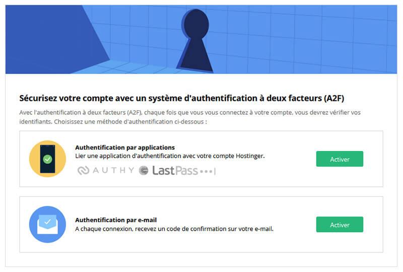 Système double authentification Hostinger