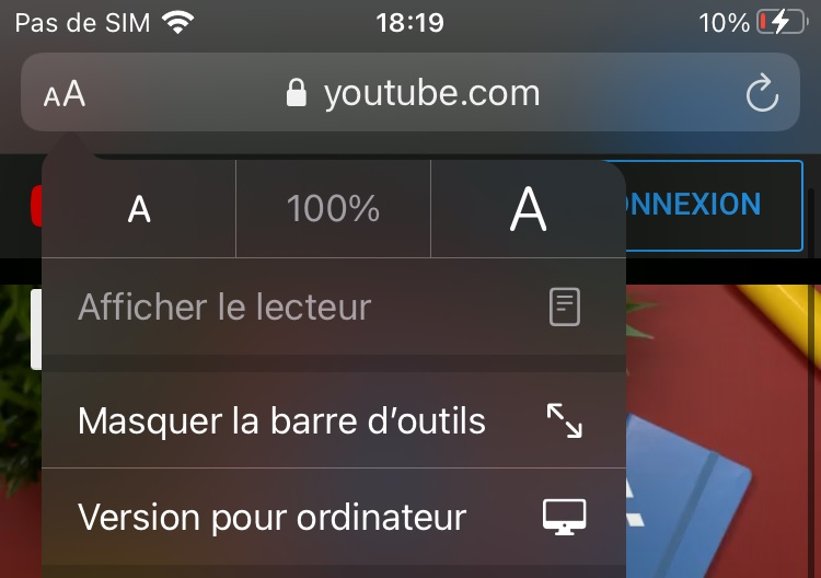Version pour ordinateur sur Safari