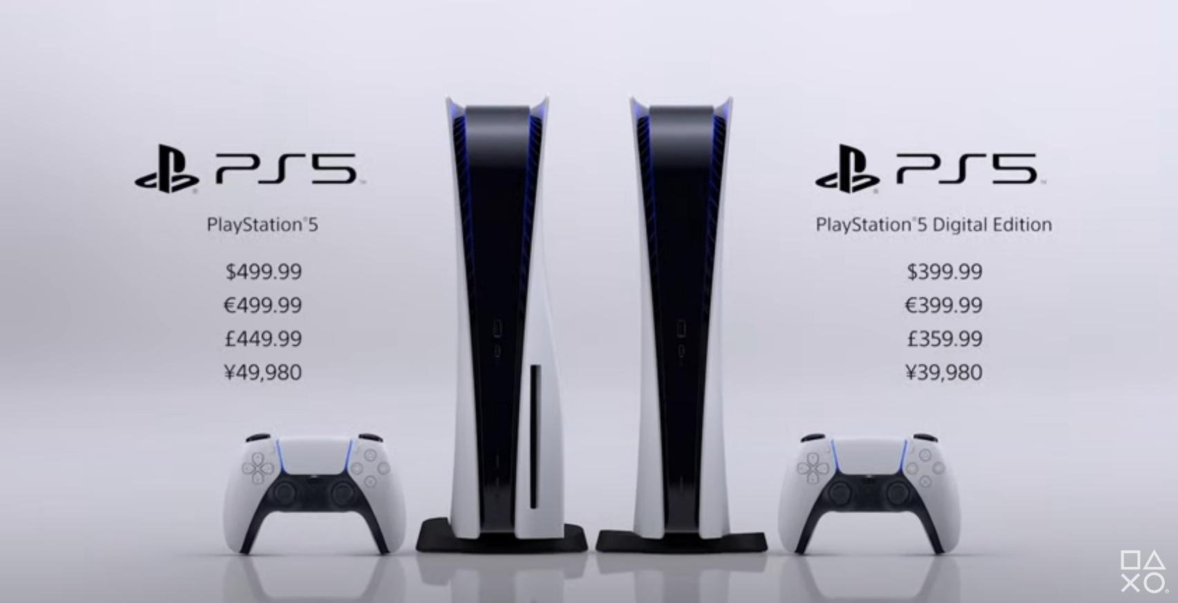 Prix PlayStation 5 et PS5 Digital Edition