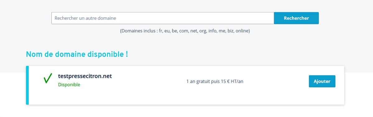 Achat nom de domaine IONOS