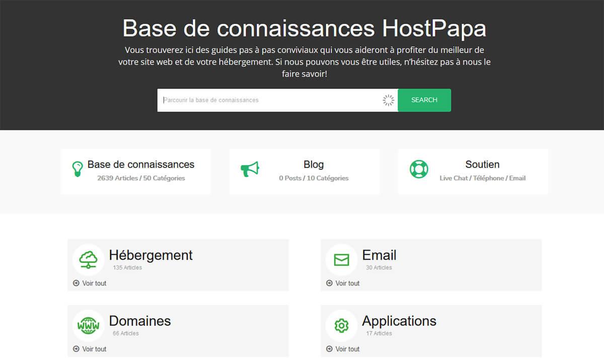 Base de connaissances HostPapa