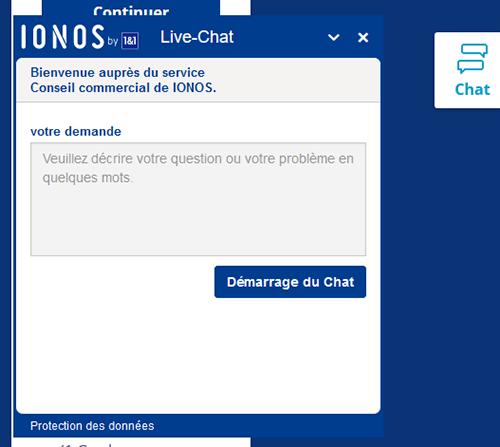 Chat en direct Service Commercial IONOS 1&1