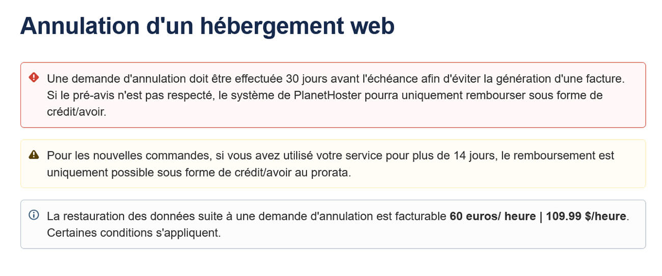 Conditions annulation hébergement PlanetHoster