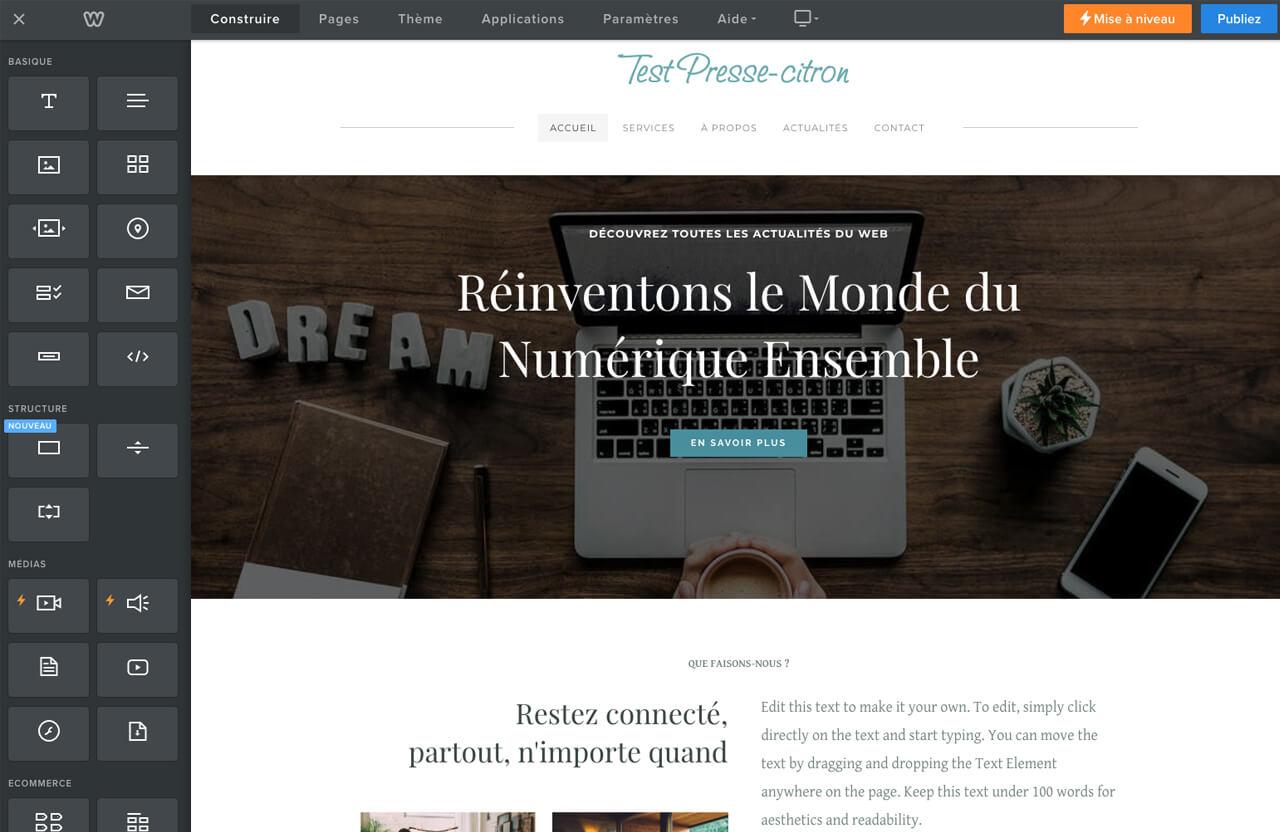 Editeur site Weebly