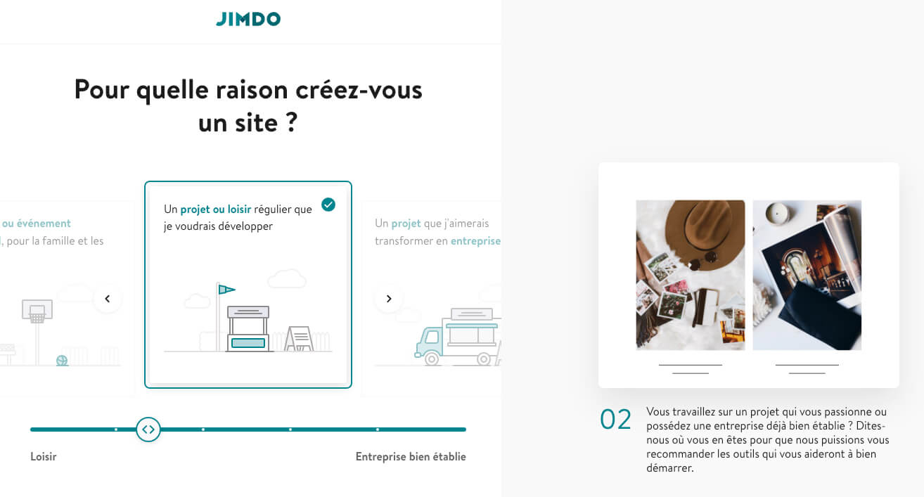 Etape creation site Jimdo