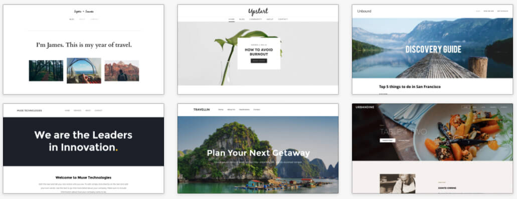 Exemples themes Weebly