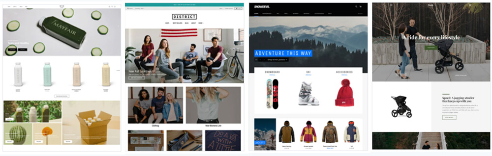 Exemples themes sites Shopify