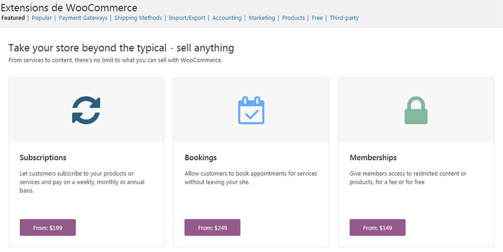 Extensions WooCommerce