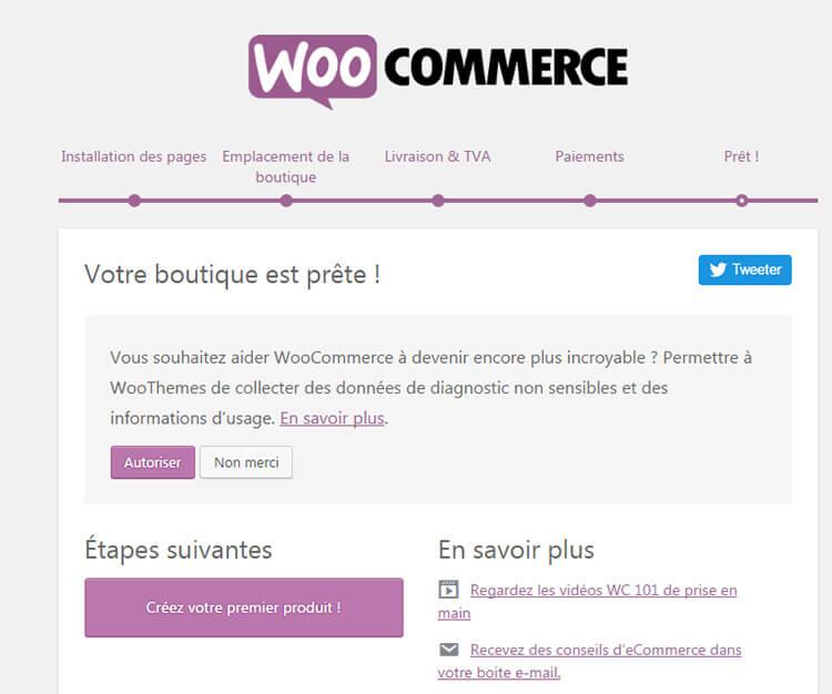 Fin configuration WooCommerce