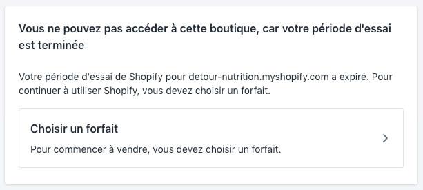 Fin essai gratuit Shopify