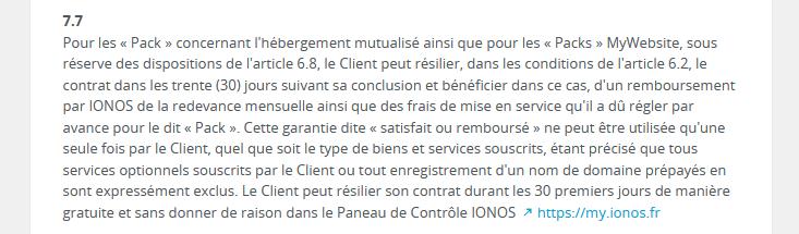 Garantie remboursement IONOS