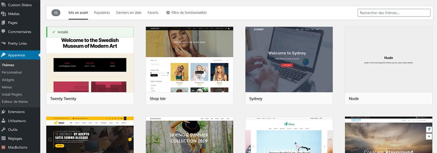 Gestion thèmes WordPress