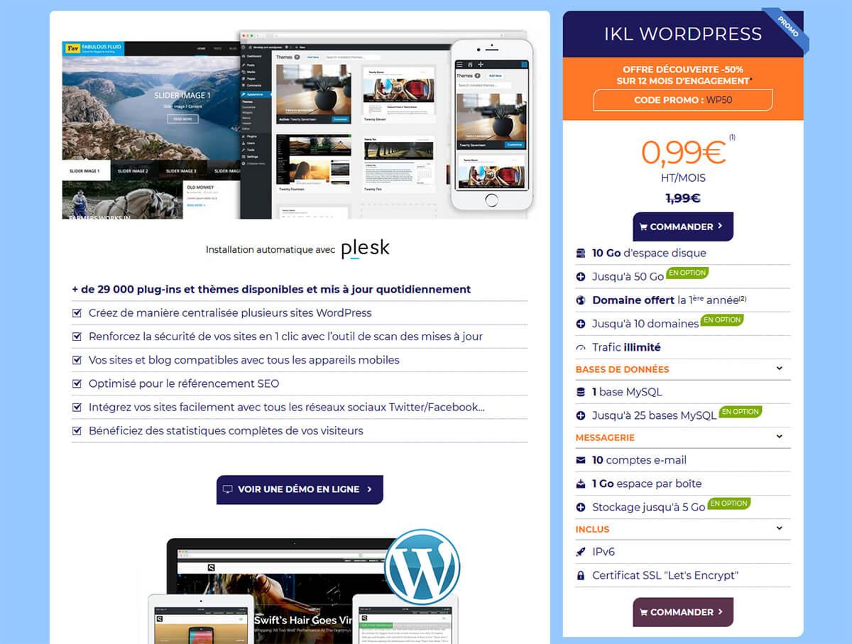 Hébergement WordPress Ikoula