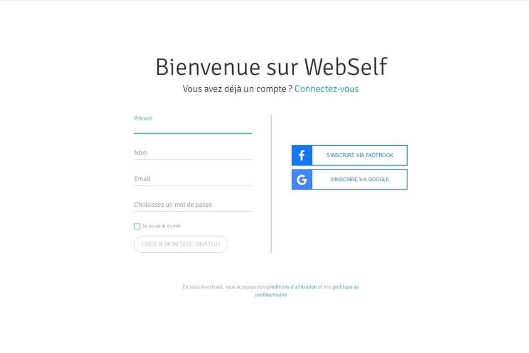 Inscription Webself