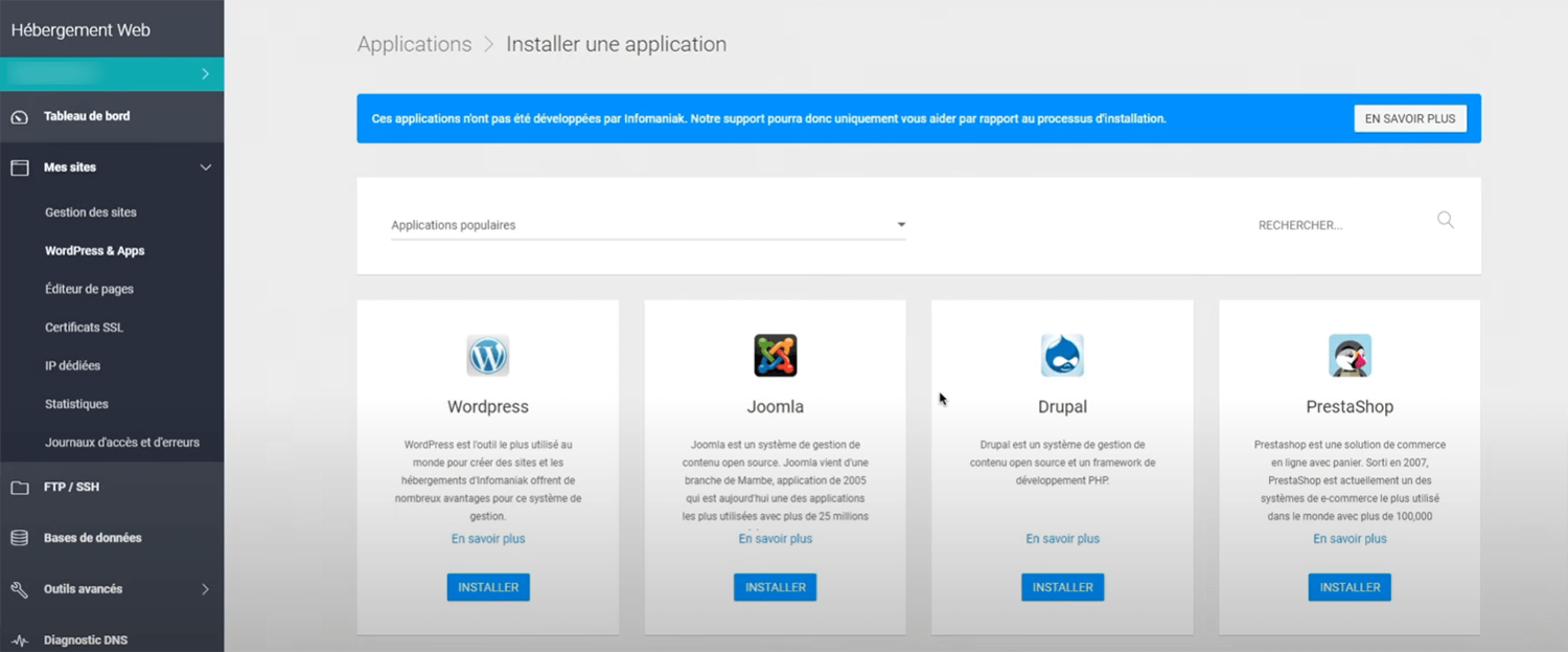 Installation WordPress Infomaniak
