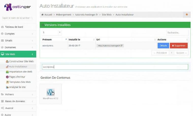 Installeur automatique WordPress Hostinger