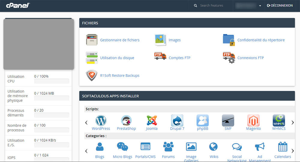 Interface cPanel Amen