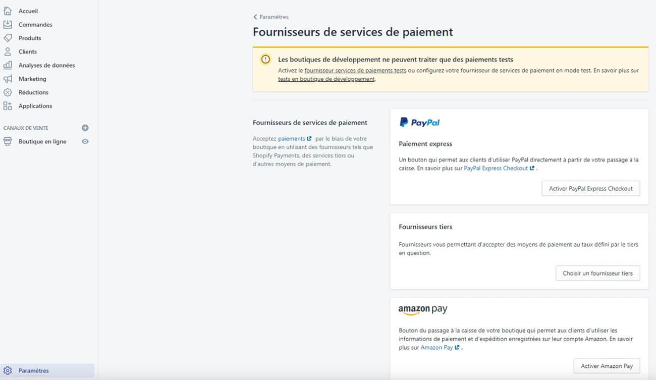 Moyens de paiement Shopify