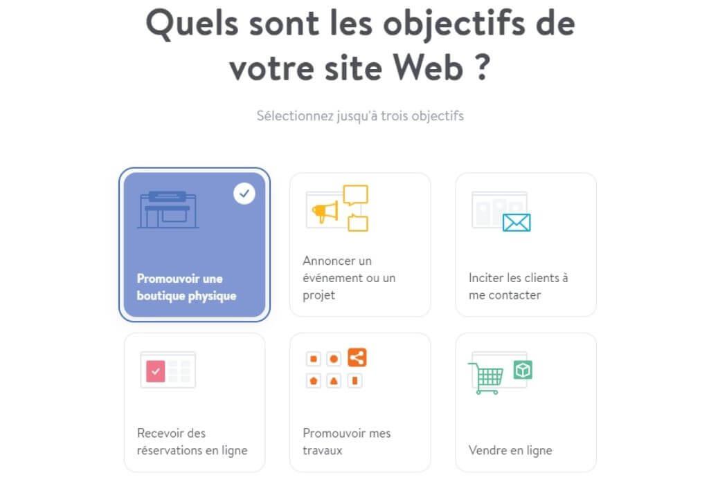 Objectifs site web Jimdo