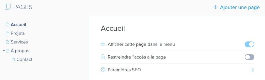 Pages site Webnode