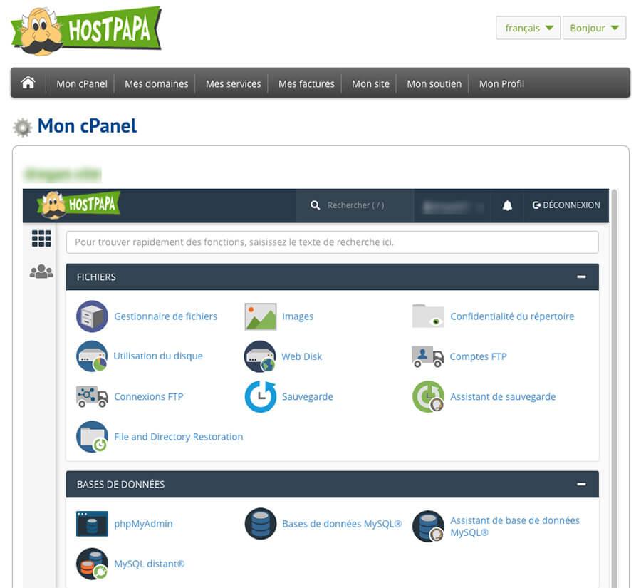 Panneau administration cPanel HostPapa
