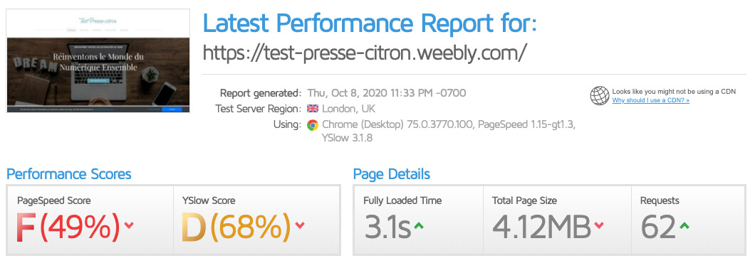 Performances site Weebly