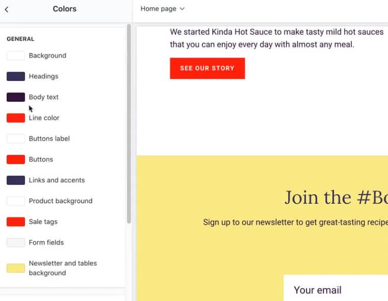 Personnalisation couleurs Site Shopify