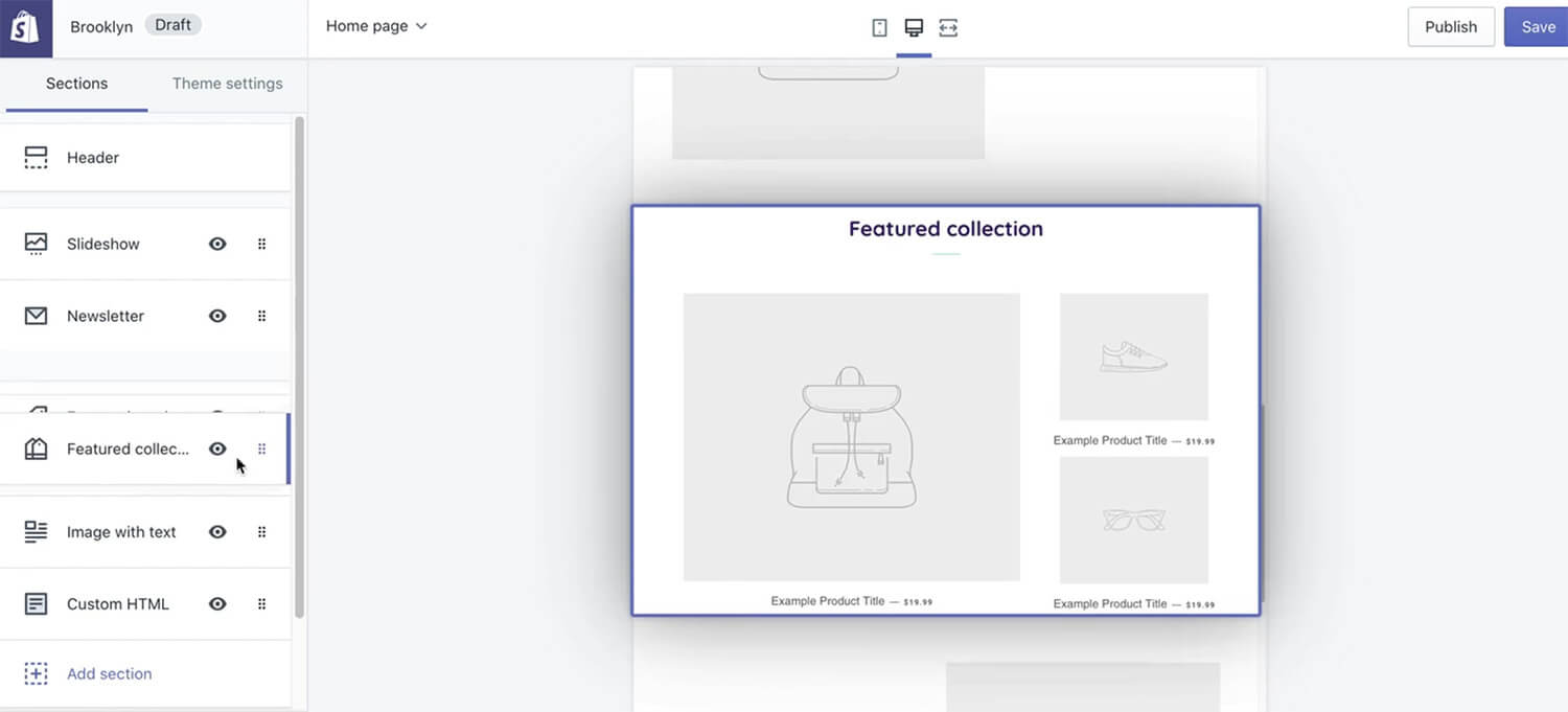 Personnalisation page accueil Shopify