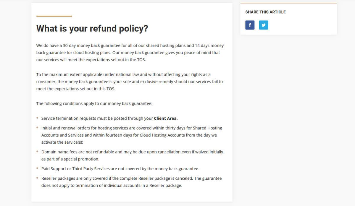Politique de remboursement SiteGround