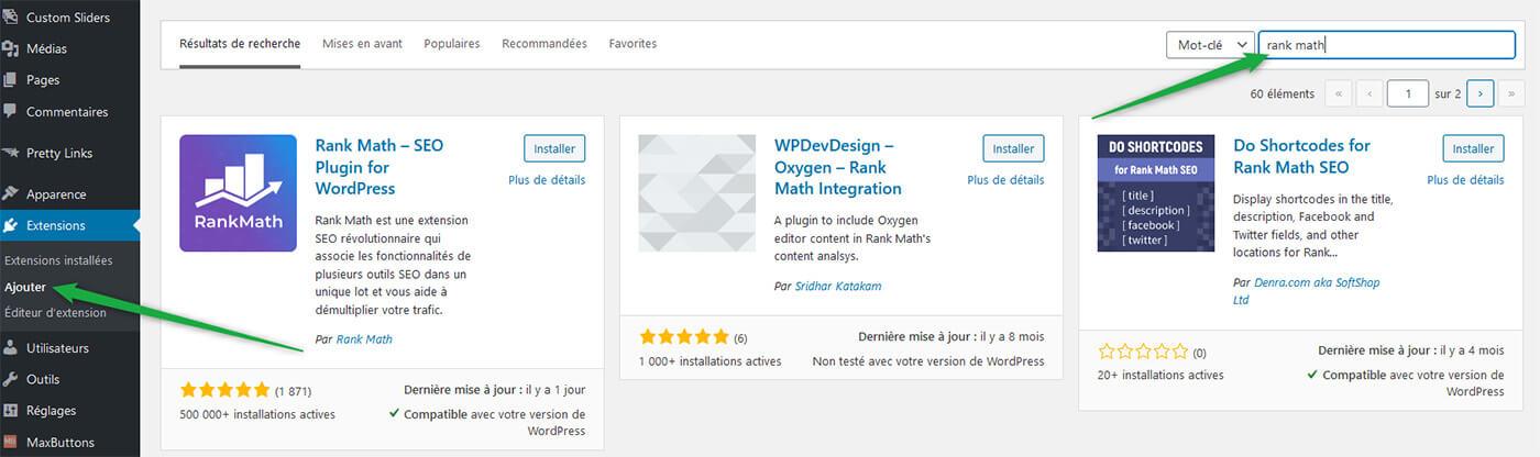 Recherche extension WordPress