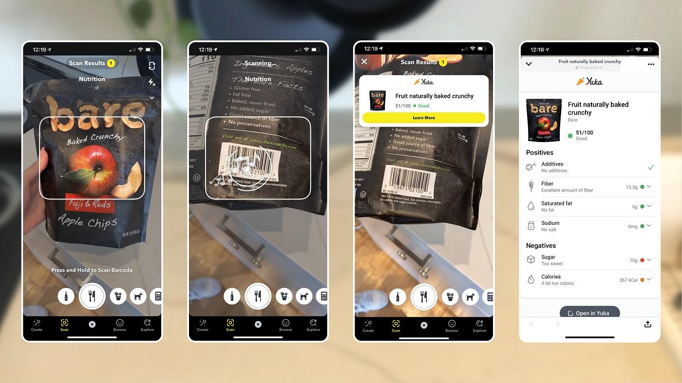 Scan de nourriture sur Snapchat