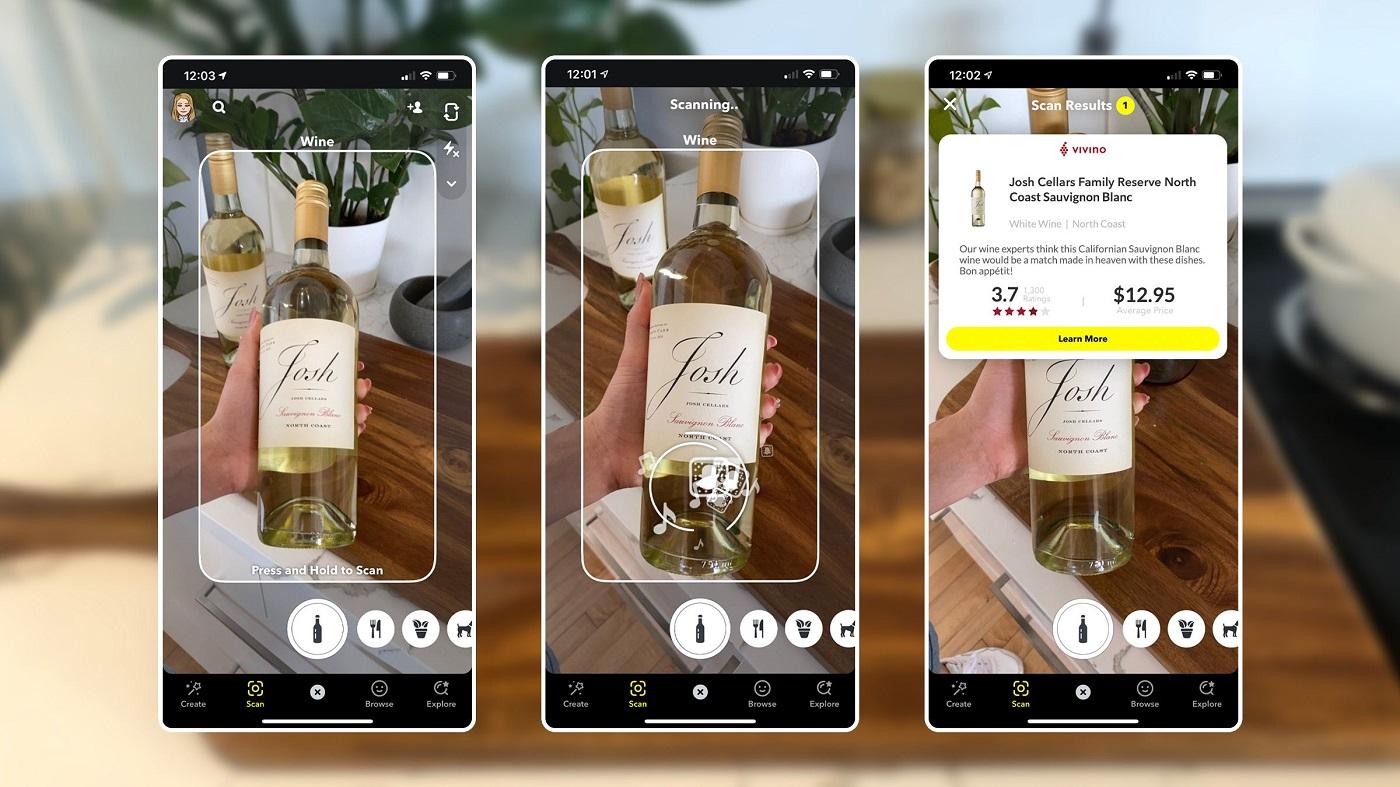 Scan de vin sur Snapchat