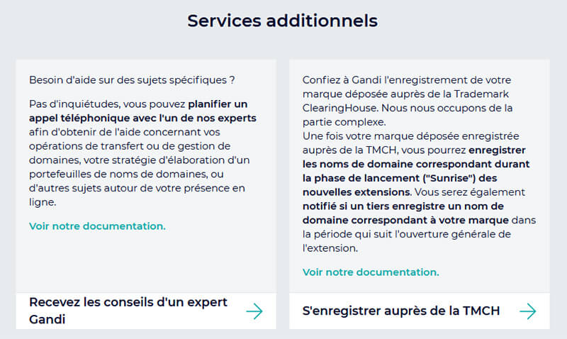 Services additionnels Support Client Gandi