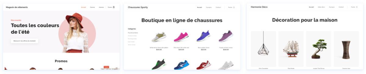 Templates e-boutique Webnode