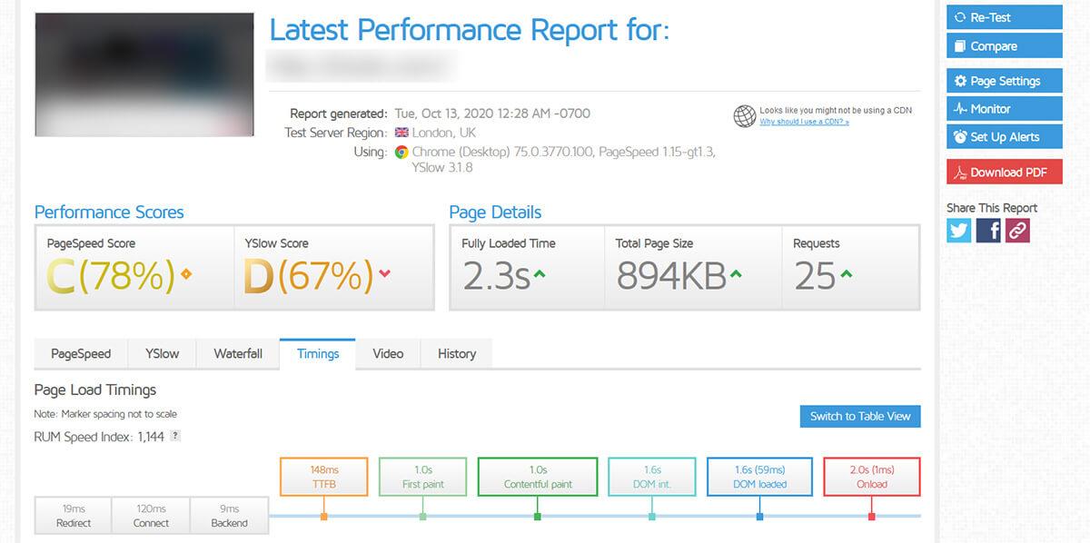 Test performance GTMetrix Amen