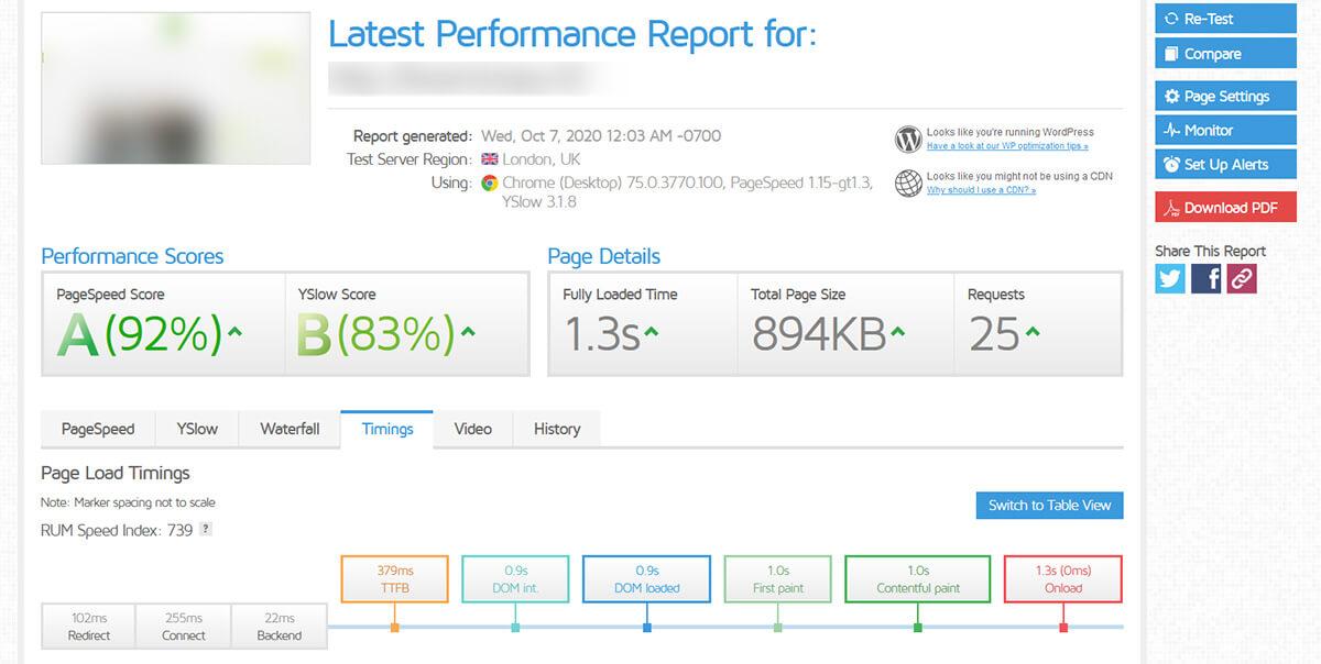 Test performance GTMetrix HostPapa