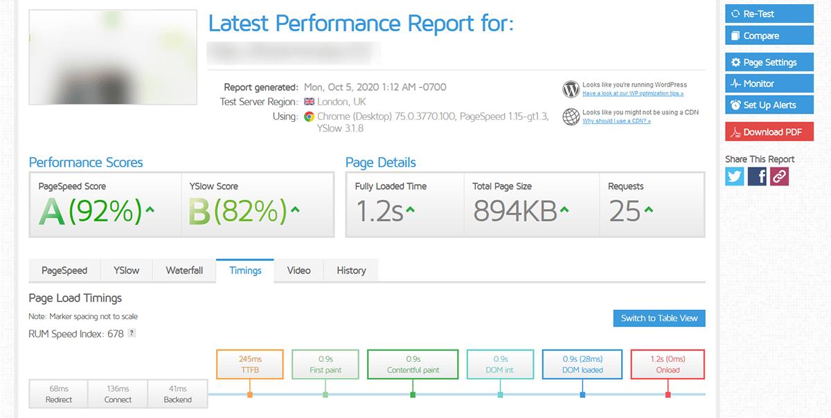 Test performance GTMetrix Infomaniak
