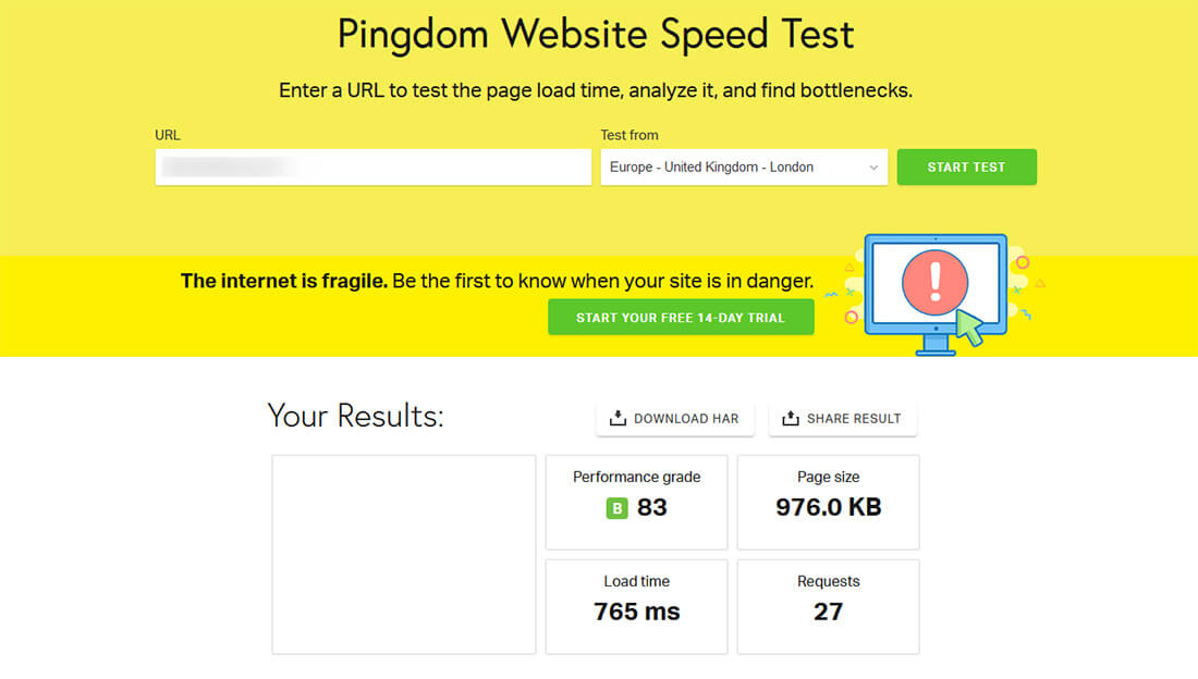 Test performance Pingdom HostPapa